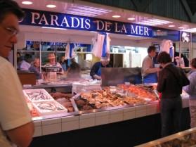 Poitiers market fish stall Poitou-Charentes Deux Sevres gite holidays classic car rental