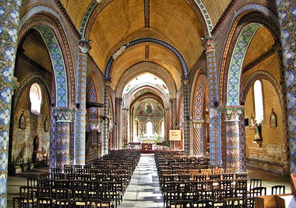 Romanesque church, nave painting, Poitou Charante, France