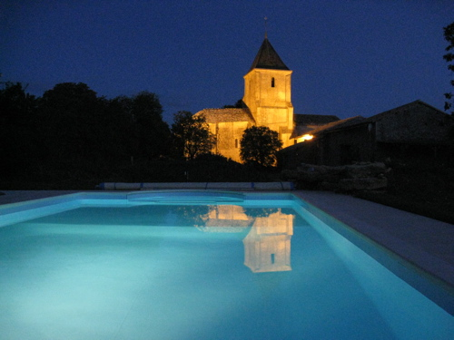 Nigh time swimming pool at gites in France